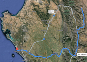 Route van de Cederbergen naar Yzerfontein